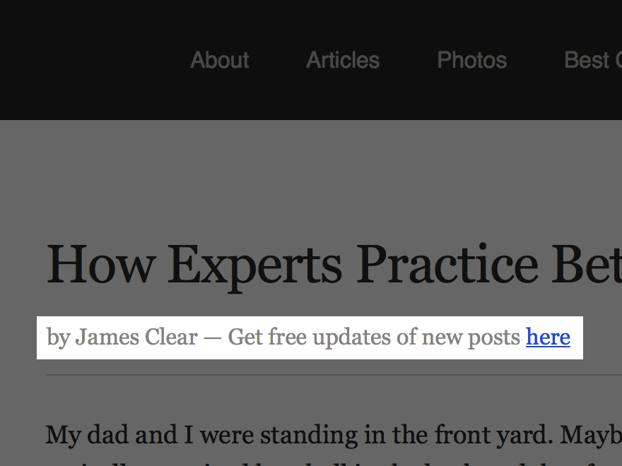List Building Technique 6: James Clear author byline optin