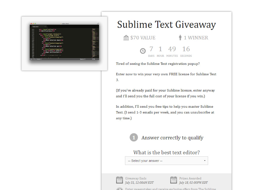 List Building Technique 14: Josh Earl Sublime Text Giveaway